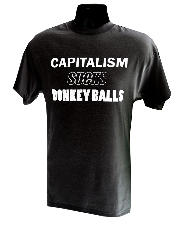 Capitalism Sucks Donkey Balls BLACK