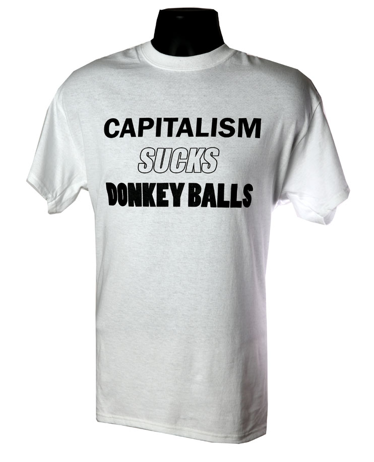 Capitalism Sucks Donkey Balls WHITE
